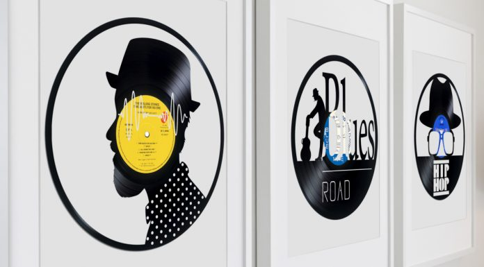 3 framed sculptures on vinyl records