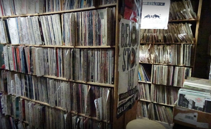 shelves full of records, beverly records, record shop in chicago