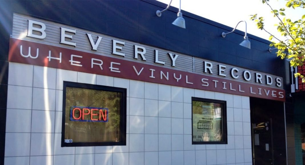 front of beverly records, record shop in chicago