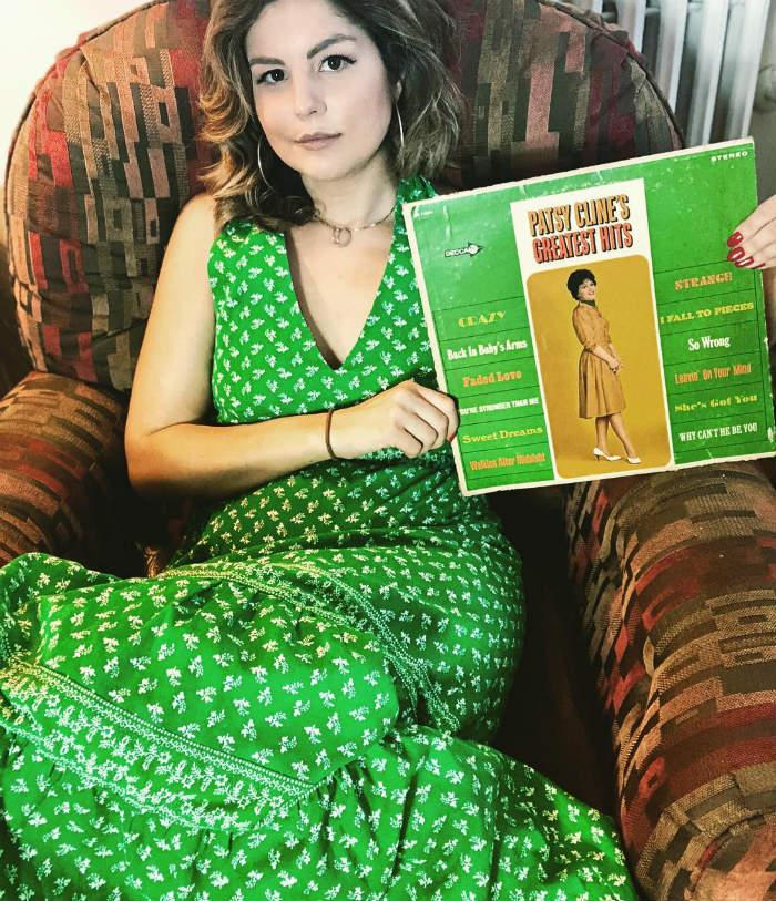 caro in a green dress