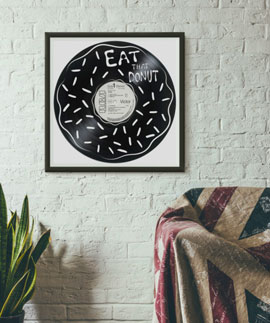 donut carved out from an old vinyl record