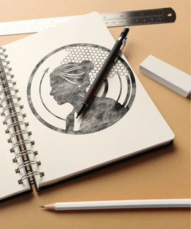 vinyl record design hand drawn on a sketch book