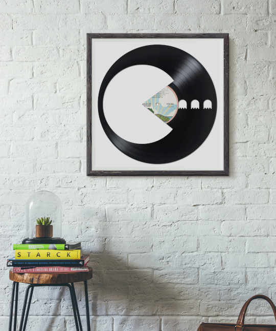 pacman carved out from a recycled vinyl record