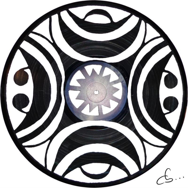 art et motif africain gravé sur disque vinyle