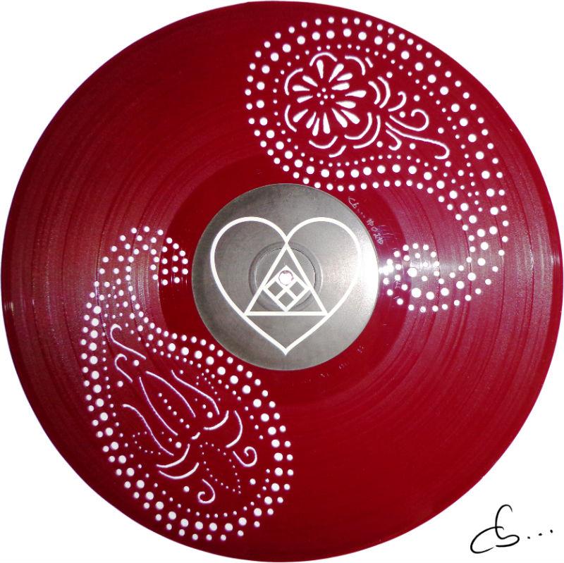 motif abstrait, pailsy gravé sur disque vinyle