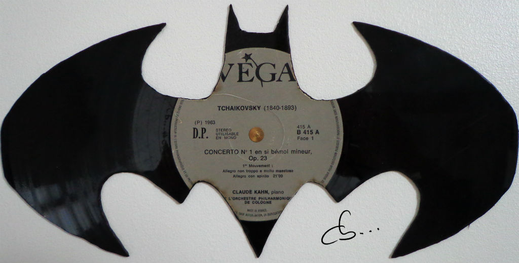 logo Batman carved out from a vinyl record