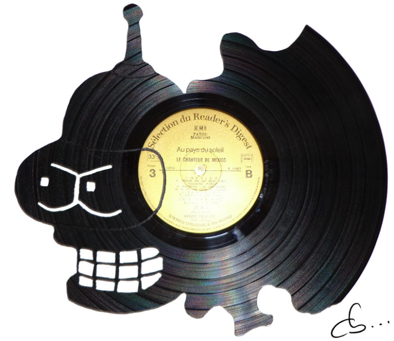The portrait of Bender made out of a vinyl record