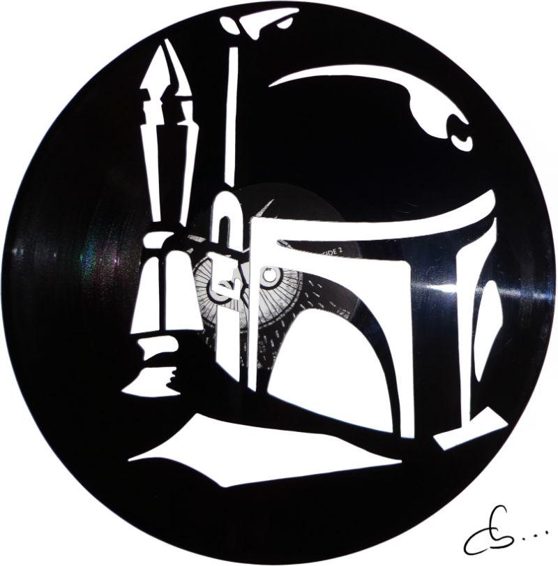 portrait de boba fett, star wars, gravé sur disque vinyle