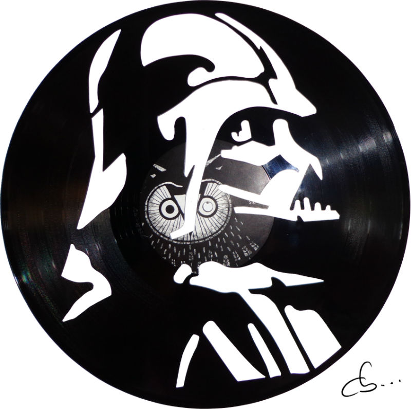 Art portrait of Darth Vader carved out from a vinyl record