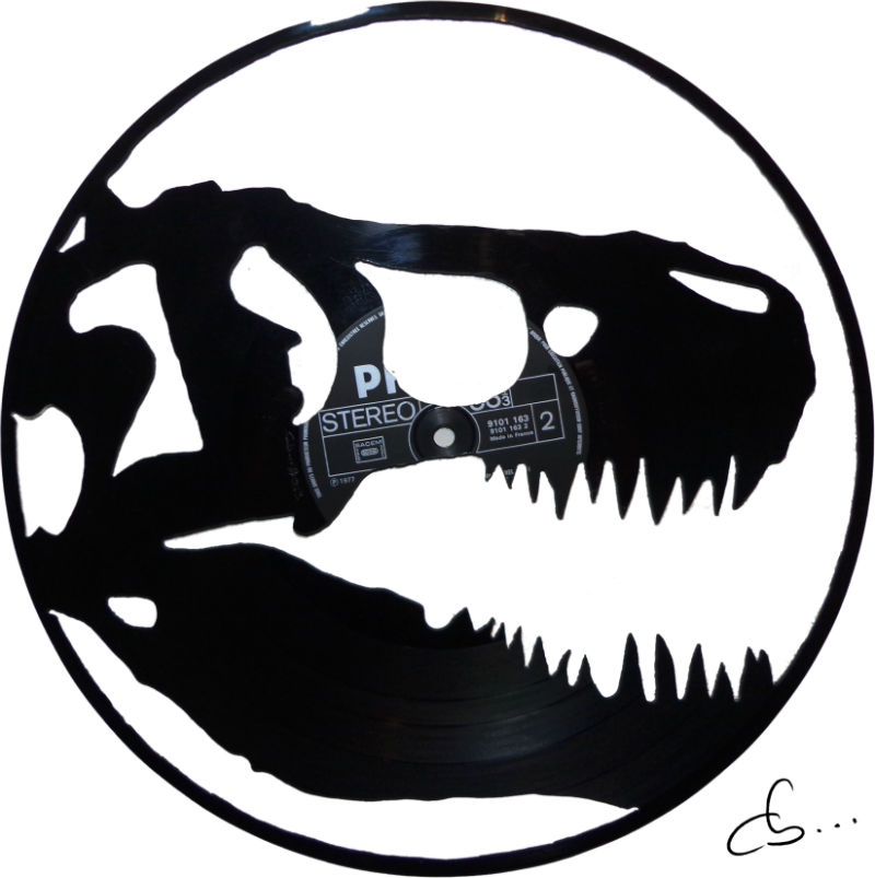 Dinosaur Skull, t-rex, made out of a vinyl record