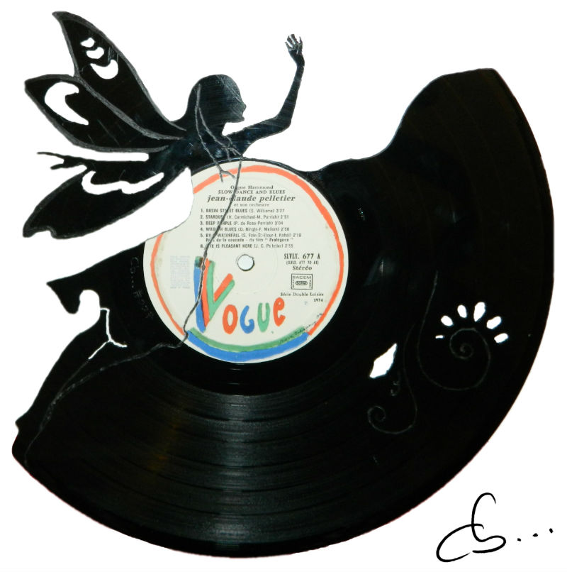 Fairy carved out from a vinyl record
