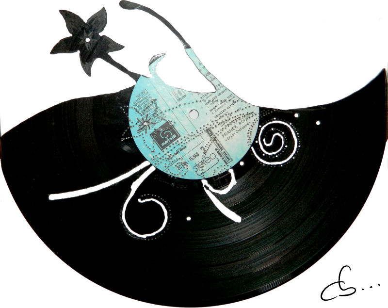 Flowers carved out from a vinyl record