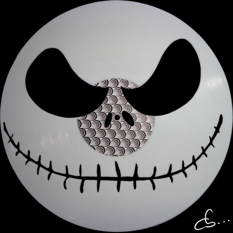 Jack, the nightmare before christmas, art portrait carved out from a vinyl record