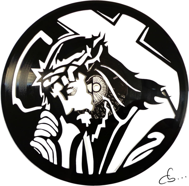 Art portrait of Jesus carved out from a vinyl record