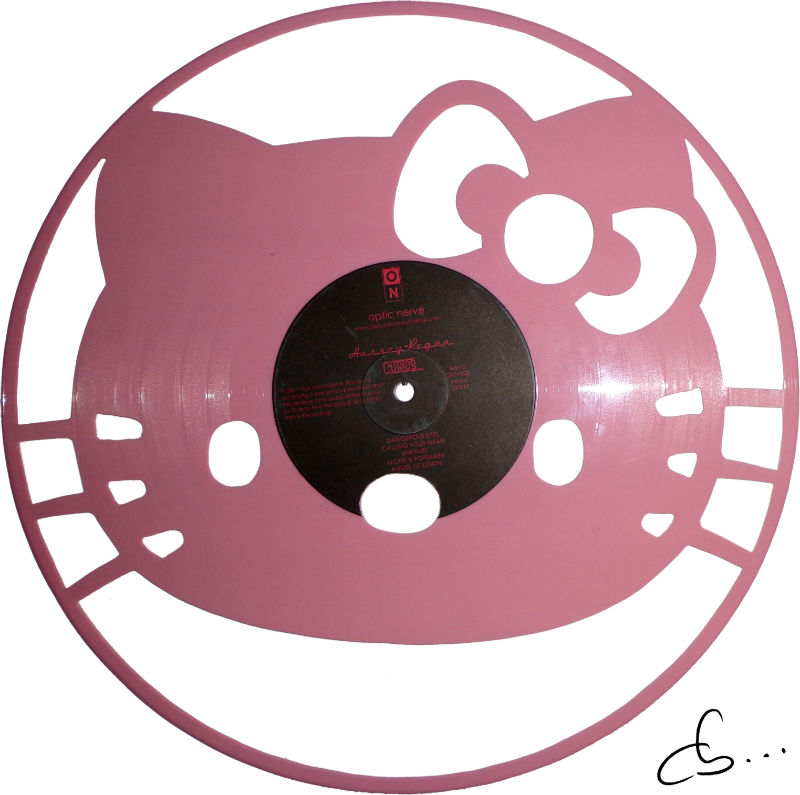 Art portrait of Kitty carved out from a pink vinyl record