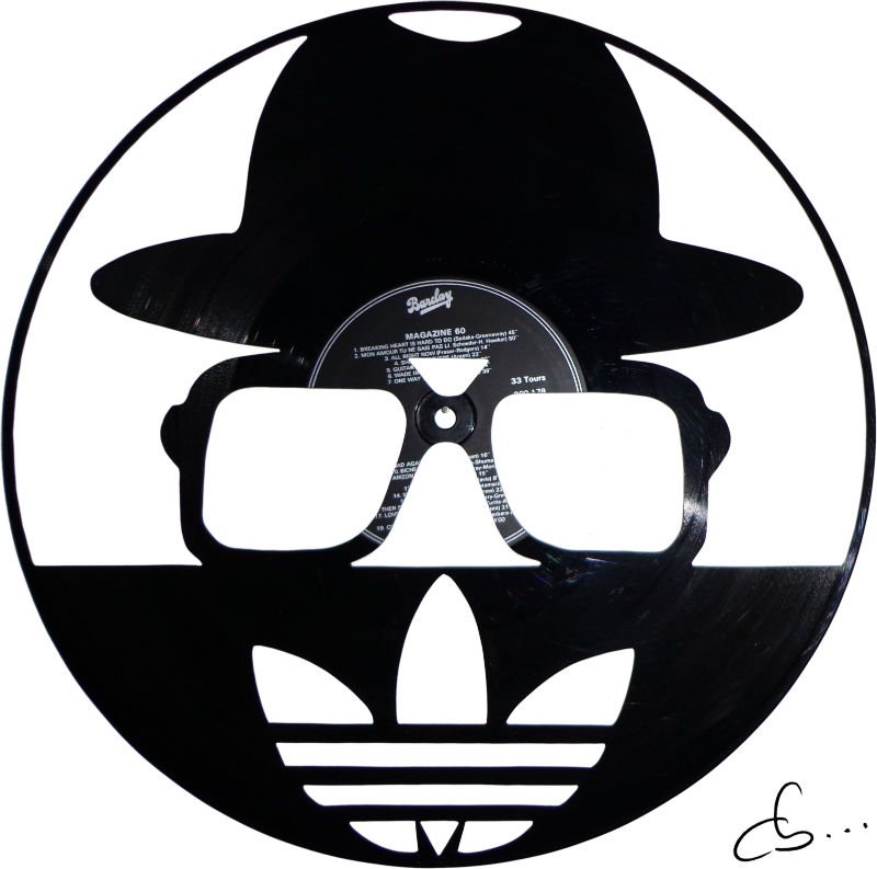 Run DMC art logo carved out from a vinyl record