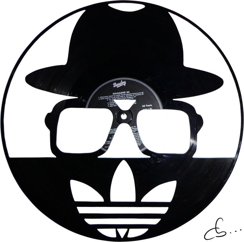 Run DMC art logo gravé sur disque vinyle