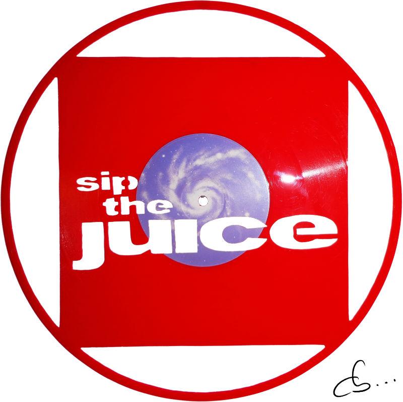 Sip The Juice art logo gravé sur un disque vinyle