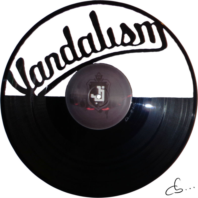 vandalism, street art carved out from a vinyl record