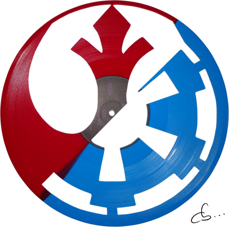 empire, rebelle, Star wars logo art on a vinyl record