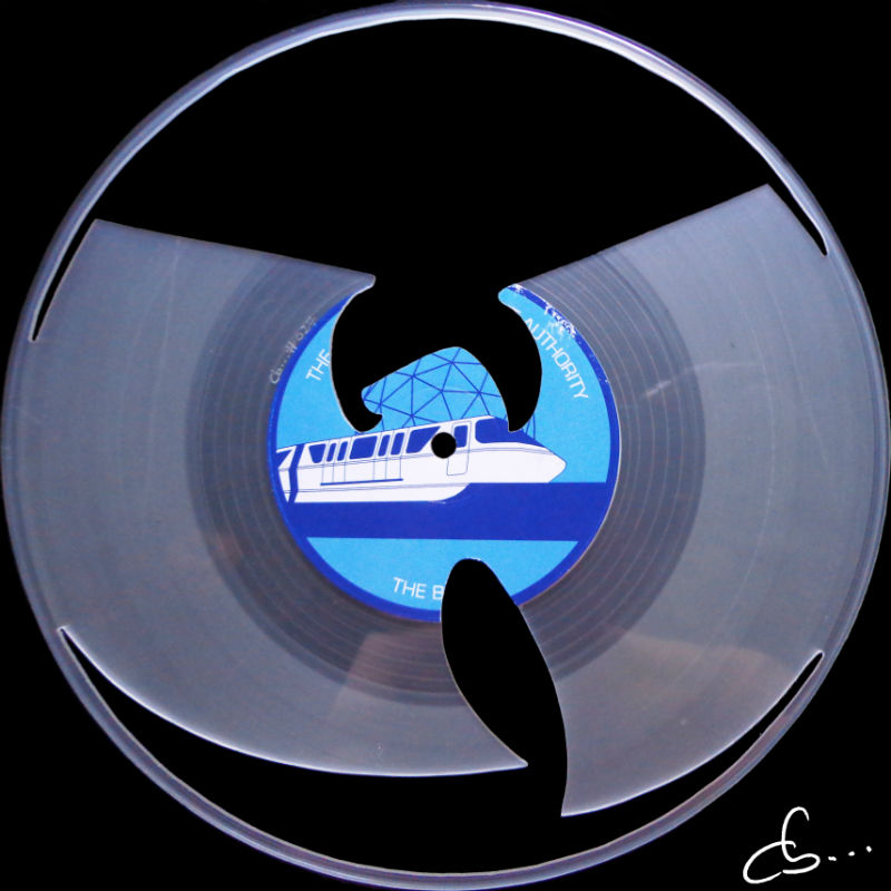 Wu Tang logo art on a transparent Vinyl Record