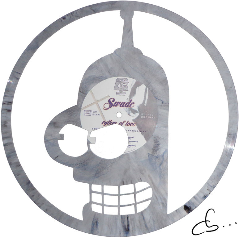 portrait of bender, futurama carved out from a grey vinyl record
