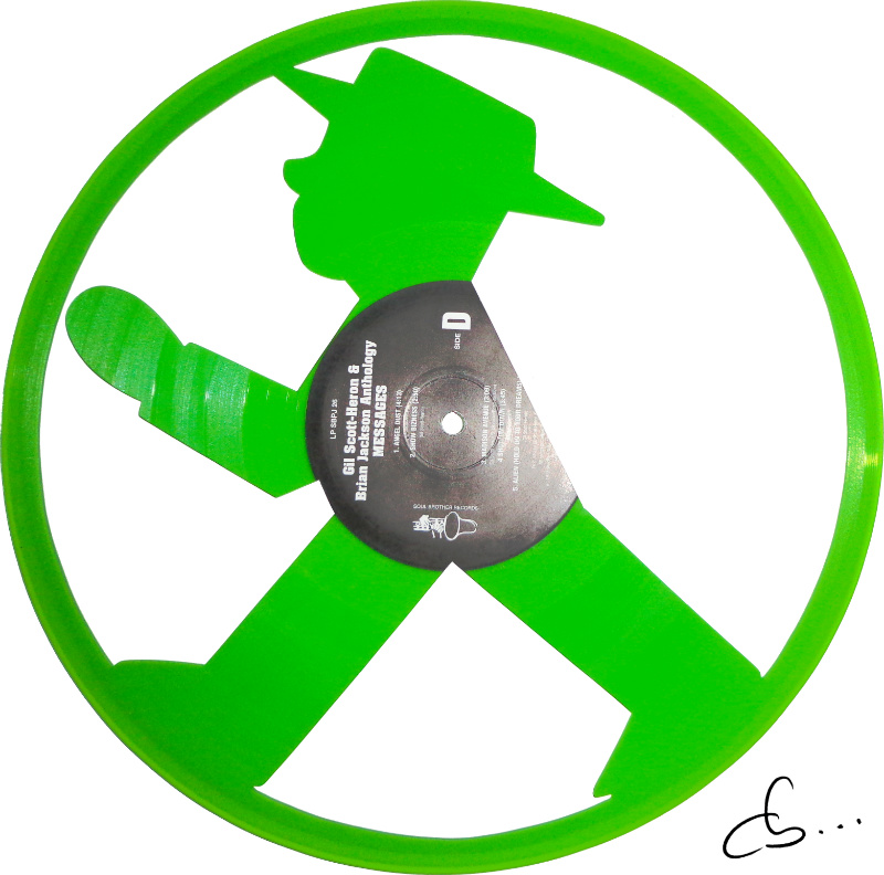 ampelmann, berlin, carved out from a green vinyl record