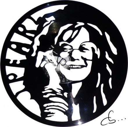 portrait of janis joplin carved out from a vinyl record