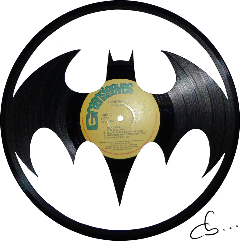 batman returns 1992 tim burton, logo carved out of a vinyl record