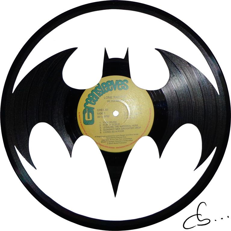 logo de batman returns, 1992, tim burtons, gravé sur disque vinyle
