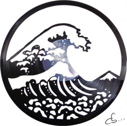 The Great Wave off Kanagawa carved out from a vinyl record