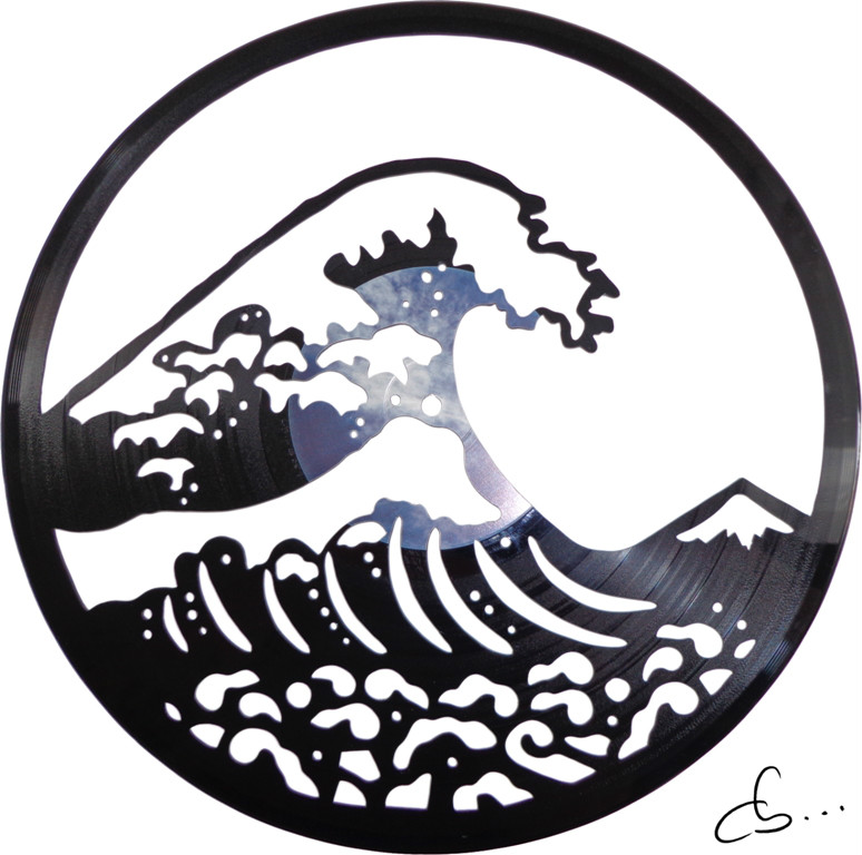the great wave off kanagawa carved out of a vinyl record