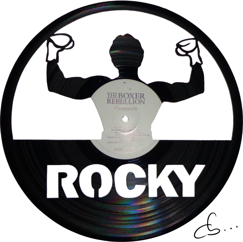 rocky portrait carved out from a vinyl record