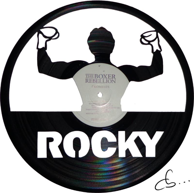 portrait de rocky gravé sur disque vinyle