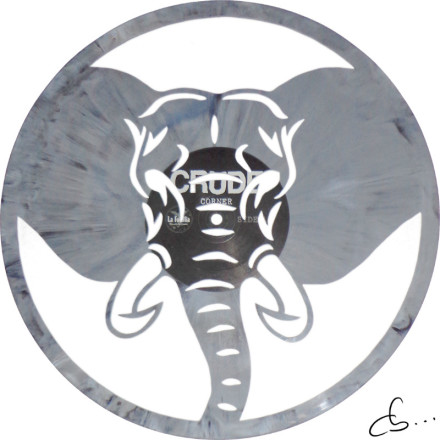 an elephant carved out from a grey vinyl record
