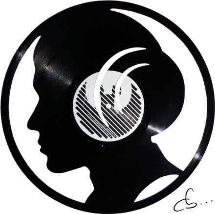 portrait of princess leia, star wars, carved out from a vinyl record
